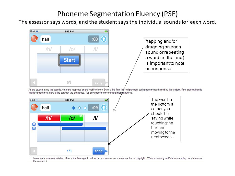 Phoneme Segmentation Fluency (PSF) The assessor says words, and the student says the individual sounds for each word.