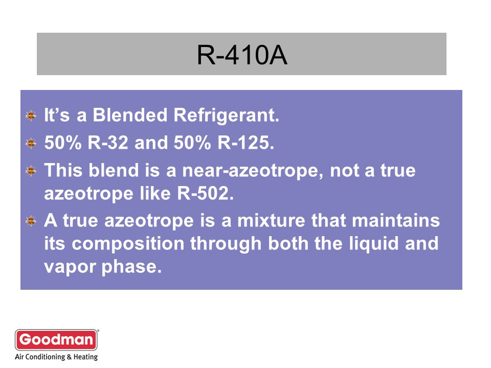 R-410A It's a Blended Refrigerant. 50% R-32 and 50% R-125.