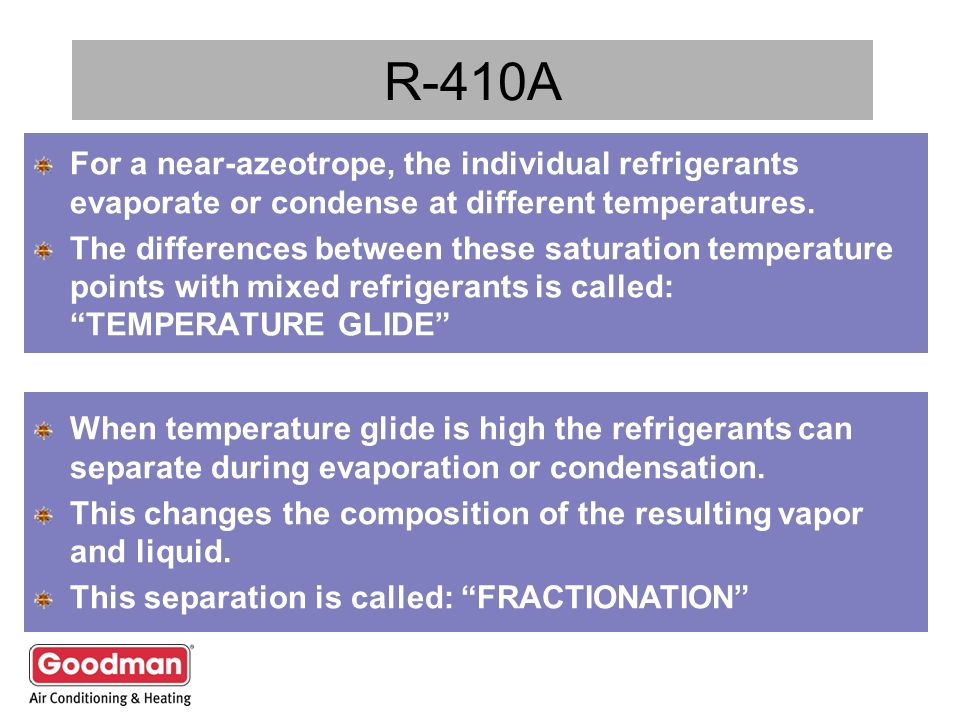 R-410A For a near-azeotrope, the individual refrigerants evaporate or condense at different temperatures.