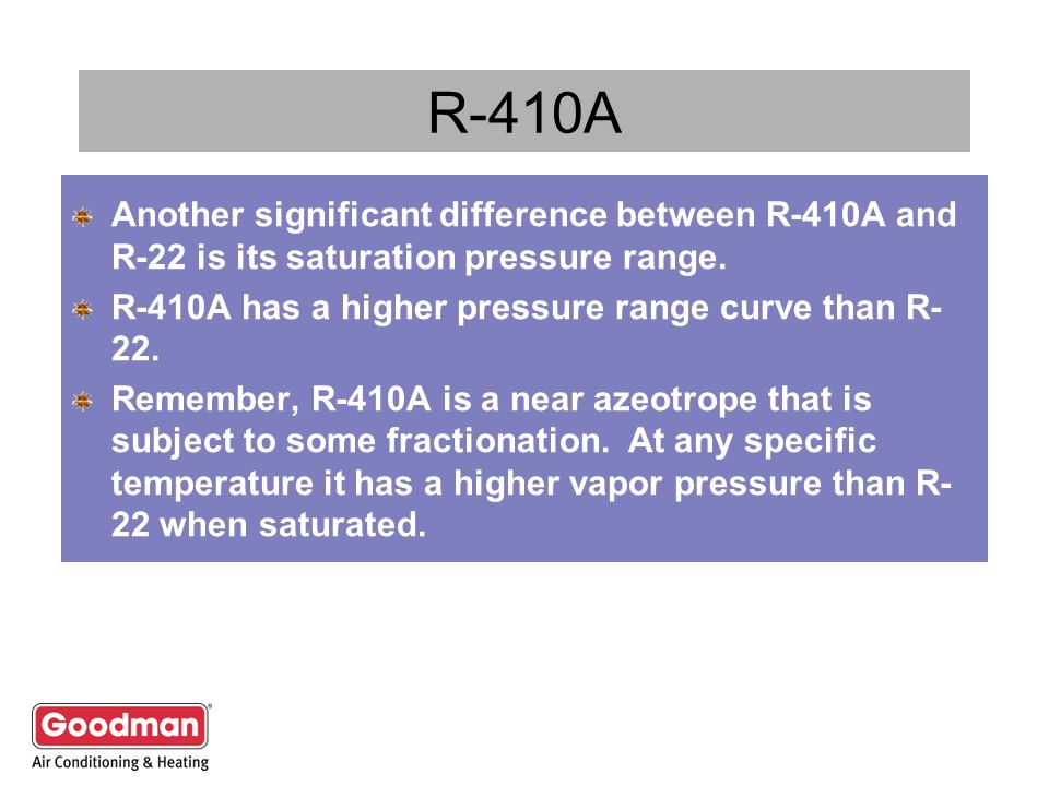 R-410A Another significant difference between R-410A and R-22 is its saturation pressure range. R-410A has a higher pressure range curve than R-22.