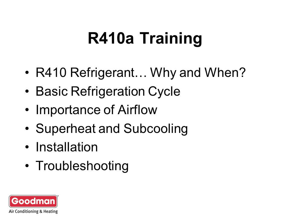 R410a Training R410 Refrigerant… Why and When