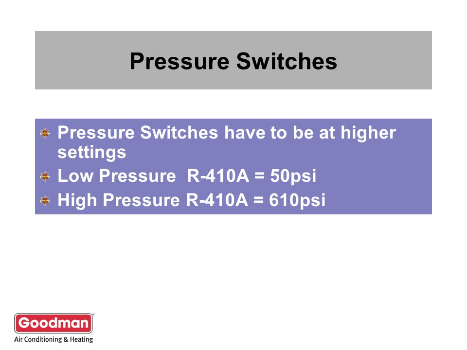 Pressure Switches Pressure Switches have to be at higher settings