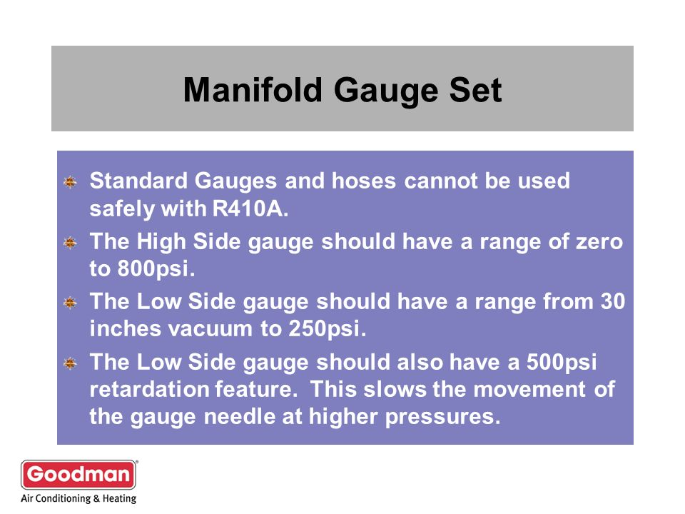 Manifold Gauge Set Standard Gauges and hoses cannot be used safely with R410A. The High Side gauge should have a range of zero to 800psi.