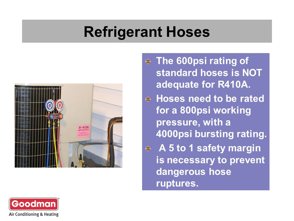 Refrigerant Hoses The 600psi rating of standard hoses is NOT adequate for R410A.