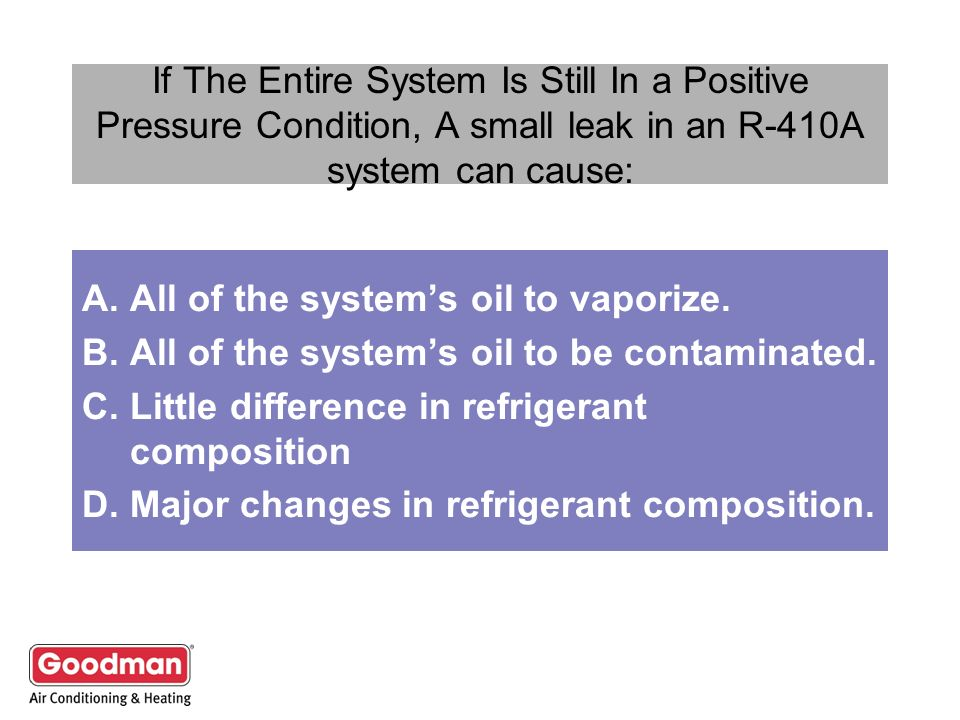 If The Entire System Is Still In a Positive Pressure Condition, A small leak in an R-410A system can cause: