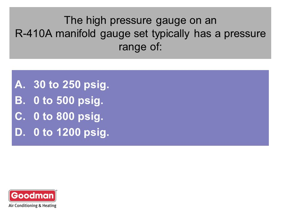 The high pressure gauge on an R-410A manifold gauge set typically has a pressure range of: