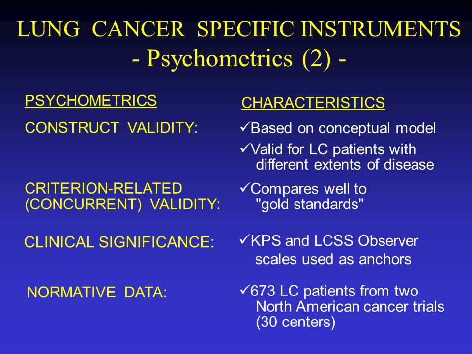 LUNG CANCER SPECIFIC INSTRUMENTS - Psychometrics (2) -