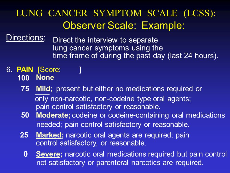 LUNG CANCER SYMPTOM SCALE (LCSS):