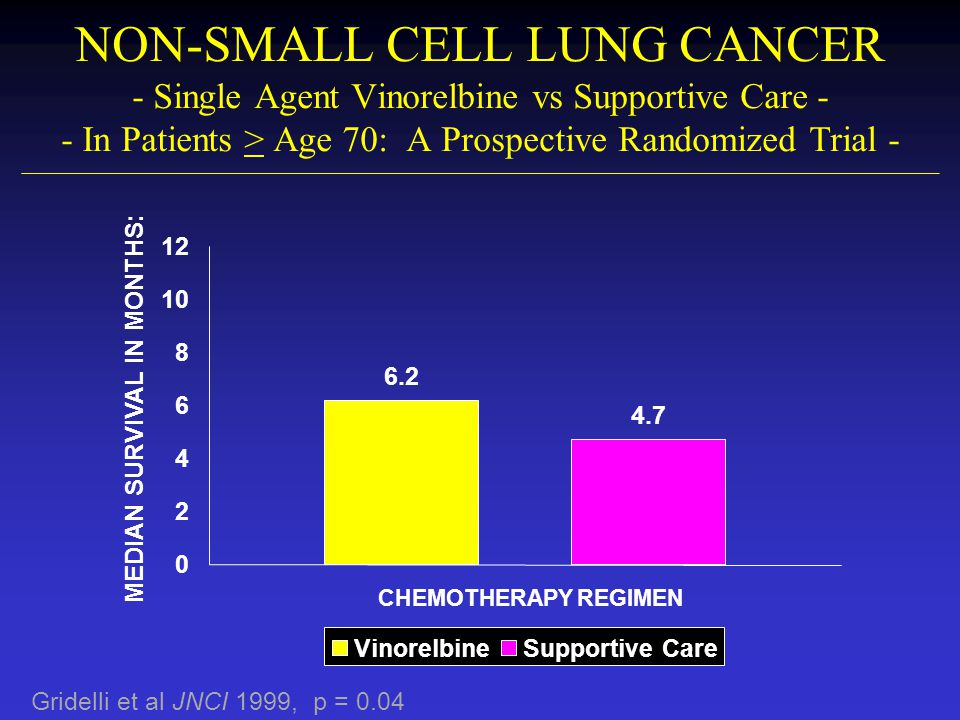 NON-SMALL CELL LUNG CANCER - Single Agent Vinorelbine vs Supportive Care - - In Patients > Age 70: A Prospective Randomized Trial -
