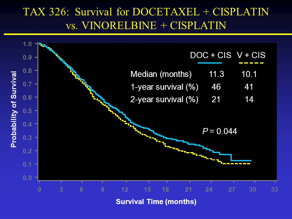 Probability of Survival Survival Time (months)