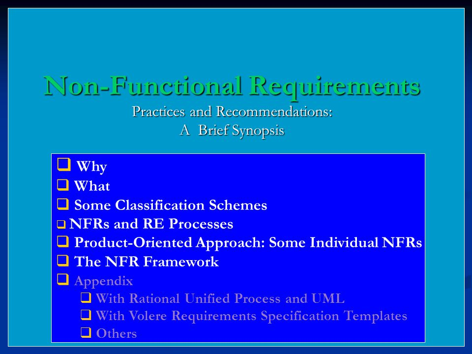 Non functional requirements ppt download for Non functional requirements template