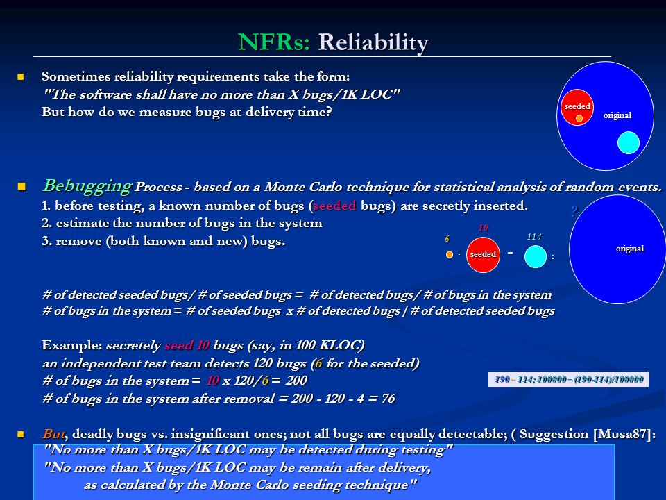 NFRs: Reliability Sometimes reliability requirements take the form: The software shall have no more than X bugs/1K LOC