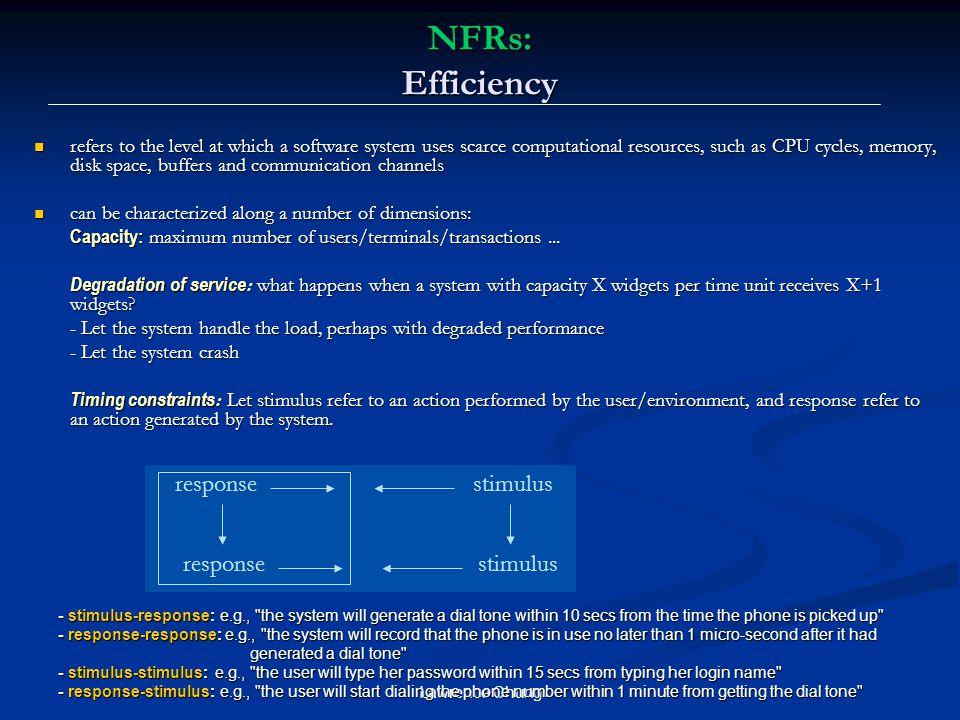 NFRs: Efficiency response stimulus response stimulus