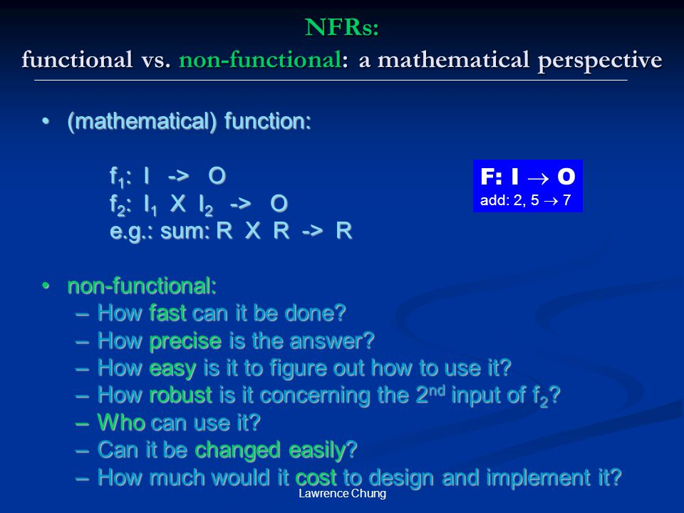 NFRs: functional vs. non-functional: a mathematical perspective
