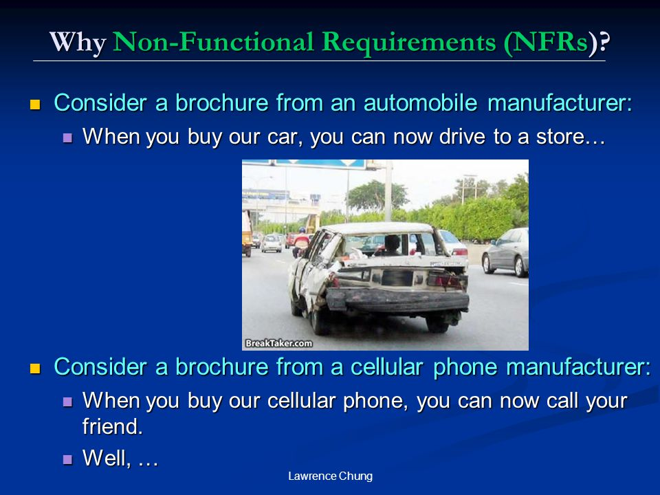 Why Non-Functional Requirements (NFRs)