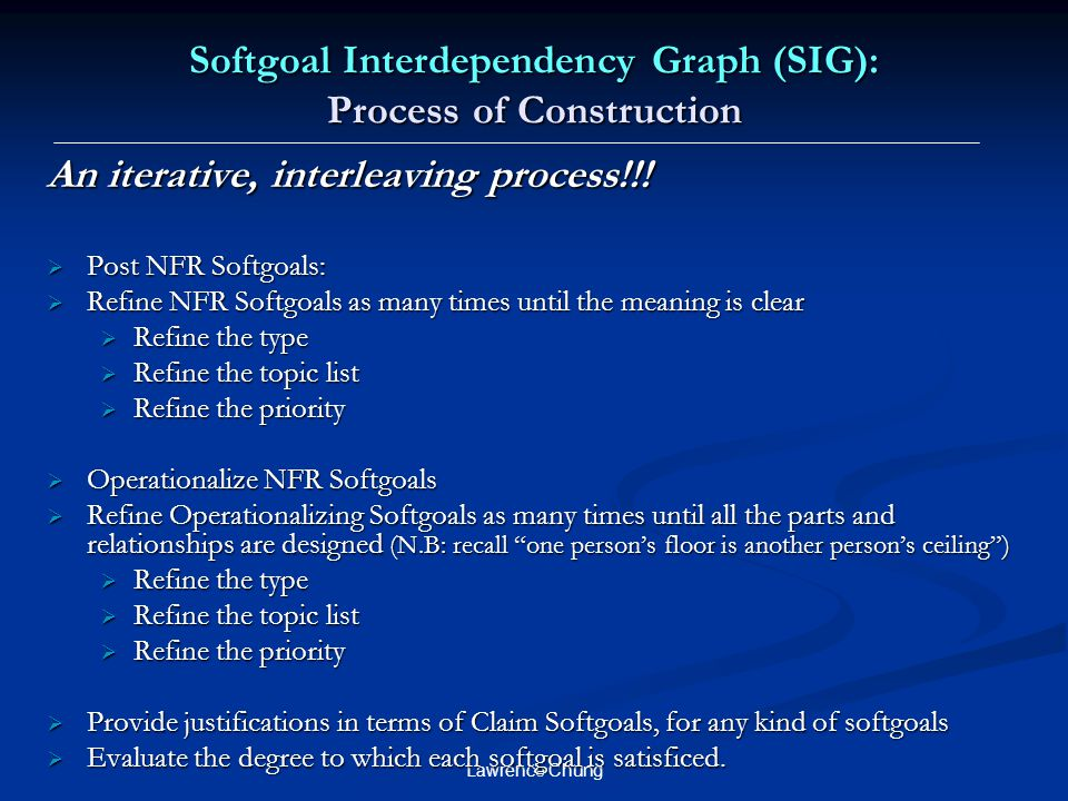 Softgoal Interdependency Graph (SIG): Process of Construction