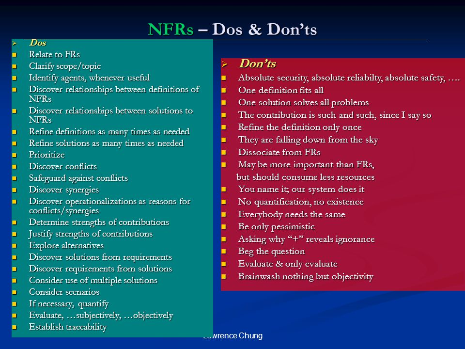 NFRs – Dos & Don'ts Don'ts
