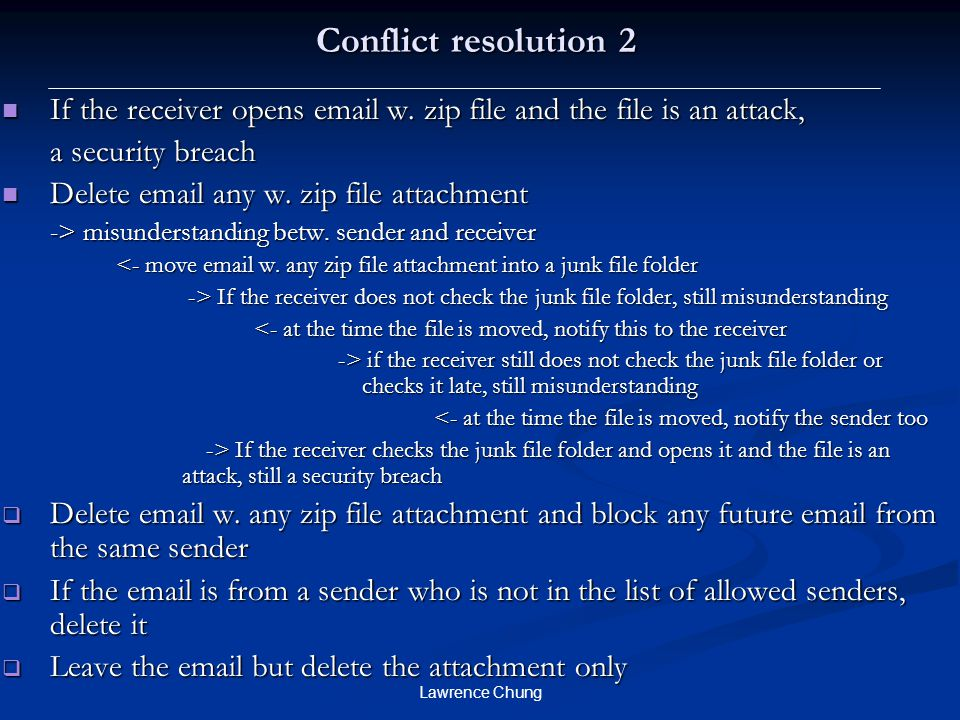 Conflict resolution 2 If the receiver opens email w. zip file and the file is an attack, a security breach.