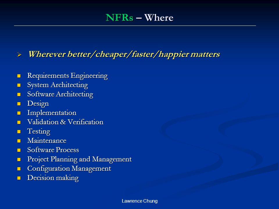 NFRs – Where Wherever better/cheaper/faster/happier matters