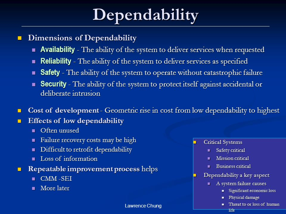 Dependability Dimensions of Dependability