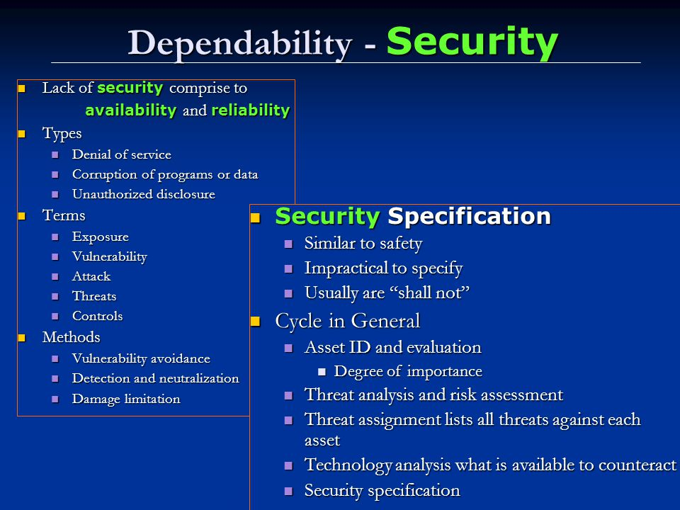 Dependability - Security