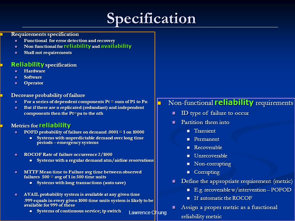 Specification Non-functional reliability requirements