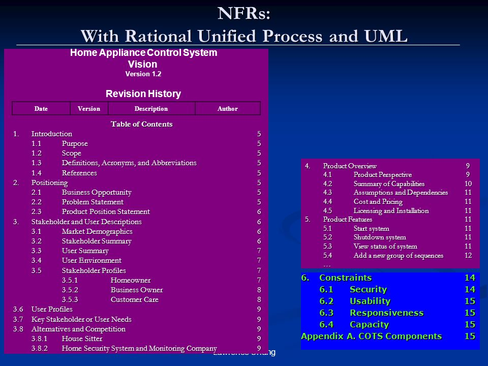 NFRs: With Rational Unified Process and UML