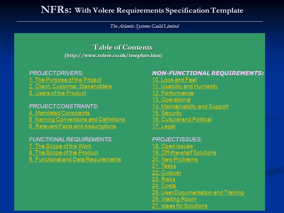 NFRs: With Volere Requirements Specification Template The Atlantic Systems Guild Limited