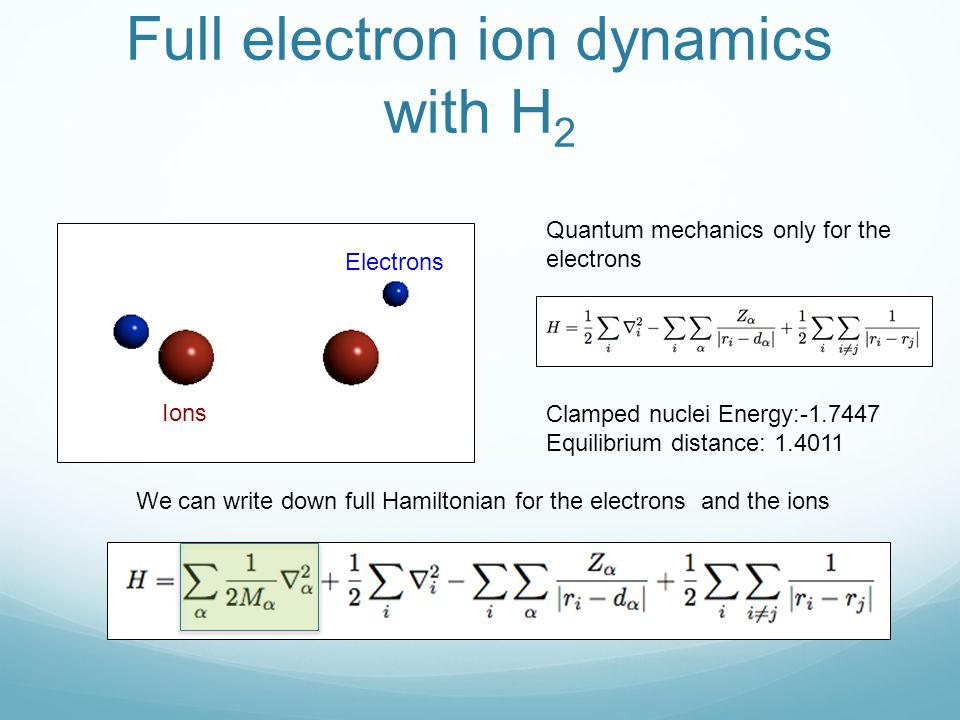 Full electron ion dynamics with H2