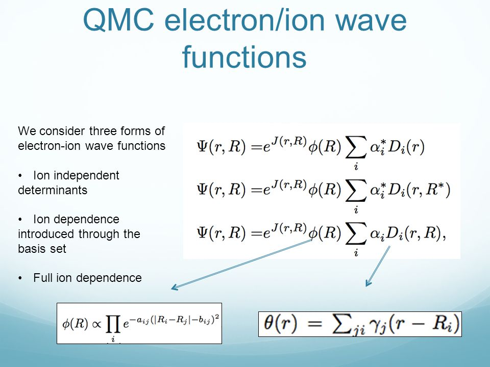 QMC electron/ion wave functions