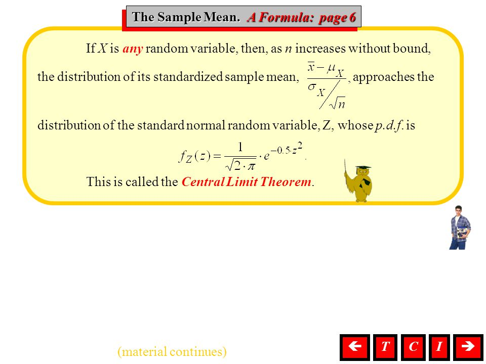 The Sample Mean. A Formula: page 6