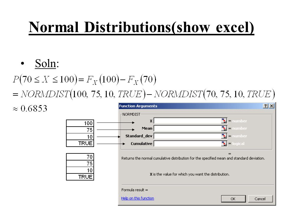Normal Distributions(show excel)