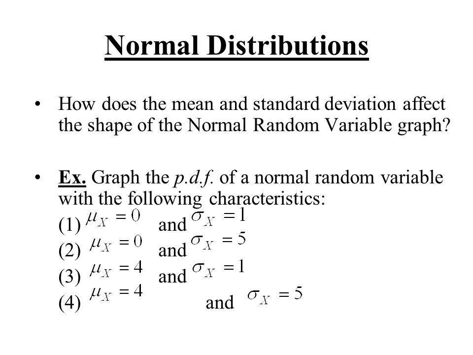 Normal Distributions How does the mean and standard deviation affect the shape of the Normal Random Variable graph