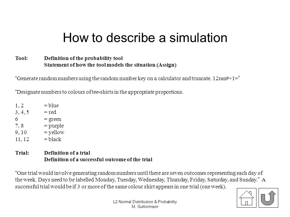 How to describe a simulation