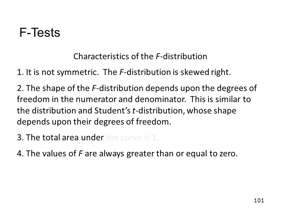 Characteristics of the F-distribution