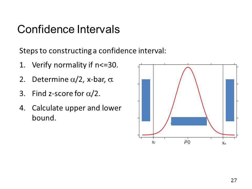 Confidence Intervals Steps to constructing a confidence interval:
