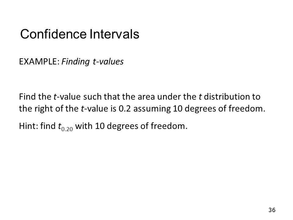 Confidence Intervals EXAMPLE: Finding t-values