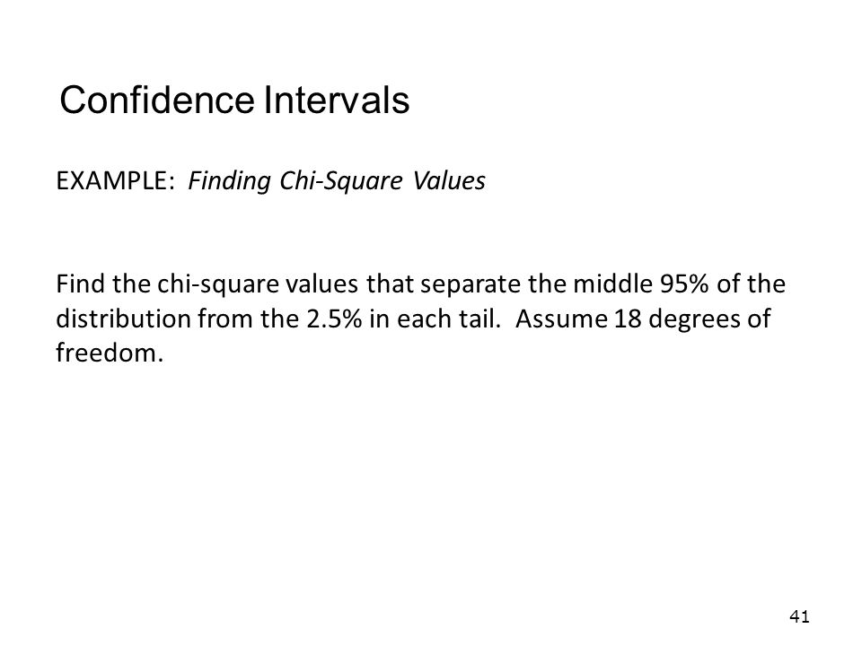 Confidence Intervals EXAMPLE: Finding Chi-Square Values
