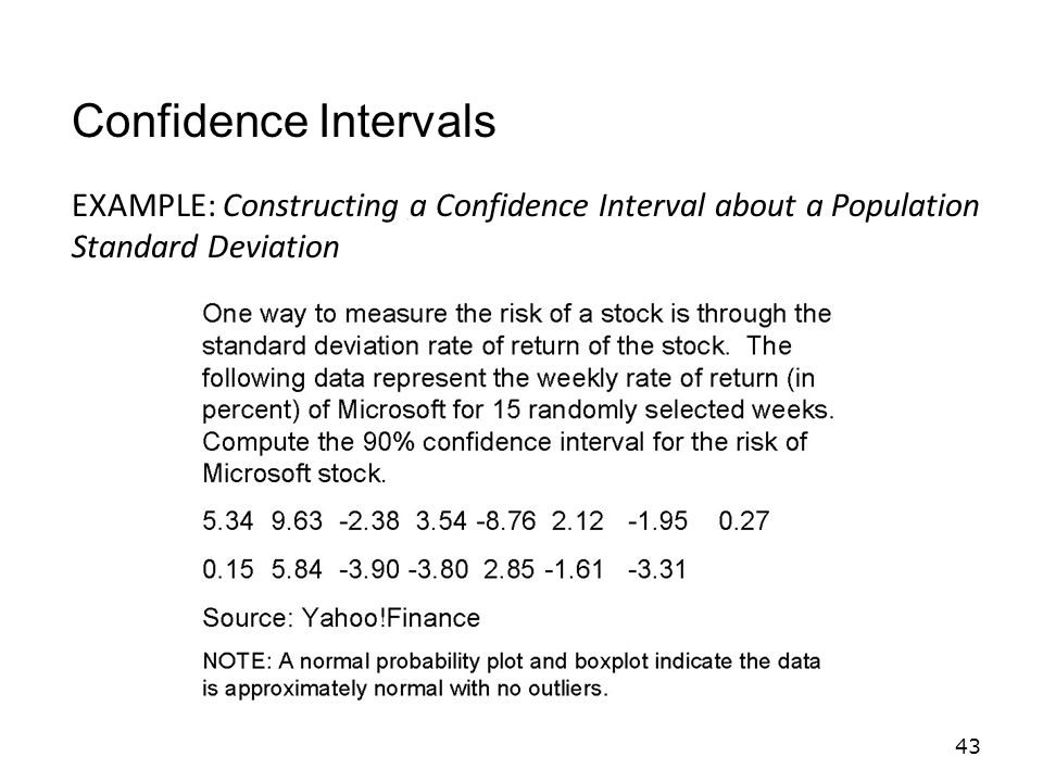 Confidence Intervals EXAMPLE: Constructing a Confidence Interval about a Population Standard Deviation.