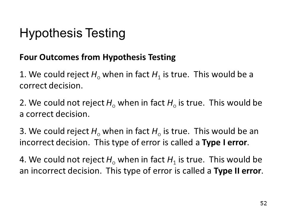 Hypothesis Testing Four Outcomes from Hypothesis Testing