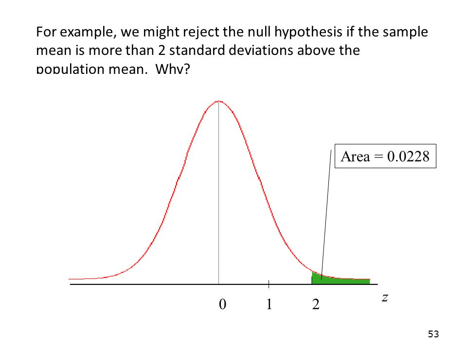 For example, we might reject the null hypothesis if the sample mean is more than 2 standard deviations above the population mean. Why