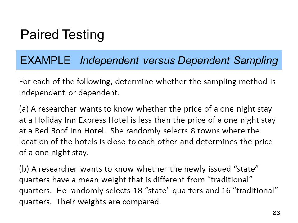 EXAMPLE Independent versus Dependent Sampling