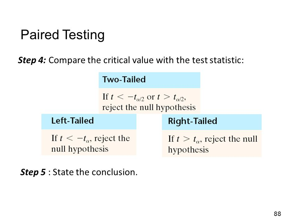 Paired Testing Step 4: Compare the critical value with the test statistic: Step 5 : State the conclusion.