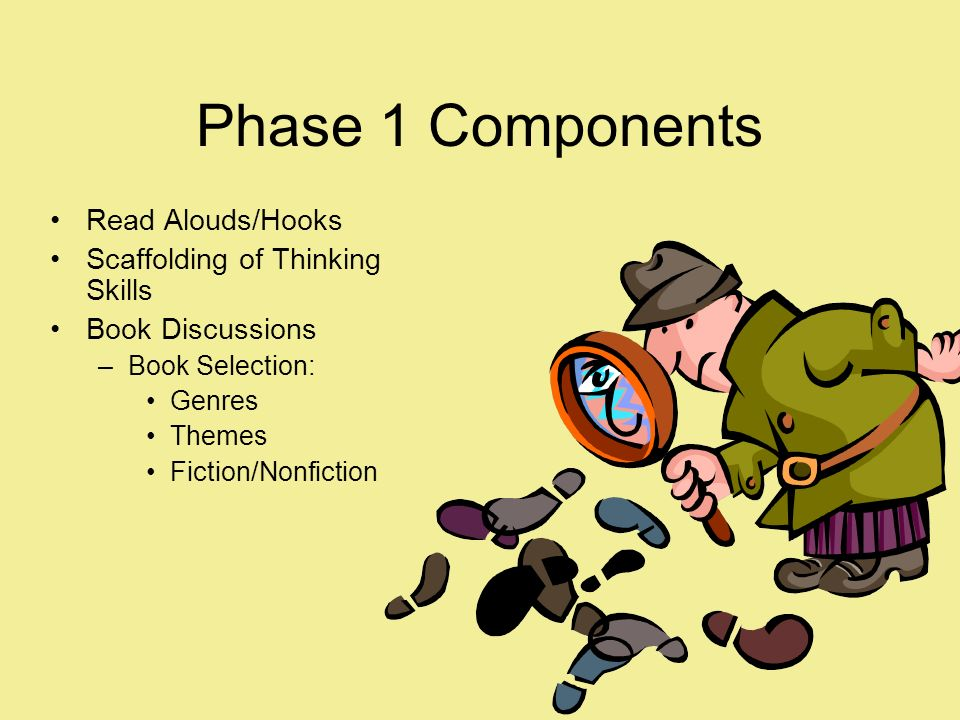 Phase 1 Components Read Alouds/Hooks Scaffolding of Thinking Skills