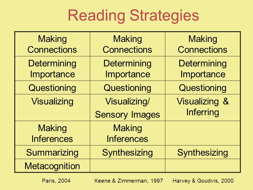Reading Strategies Making Connections Determining Importance