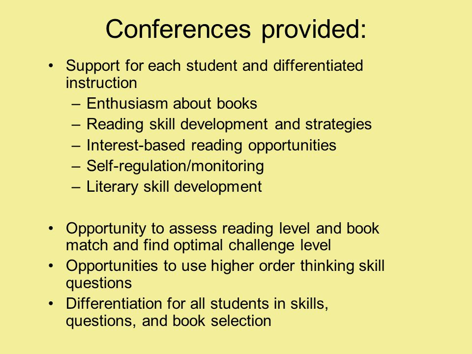 Conferences provided: