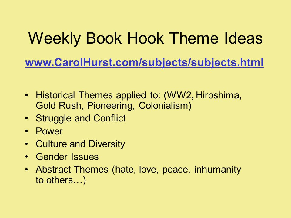 Weekly Book Hook Theme Ideas