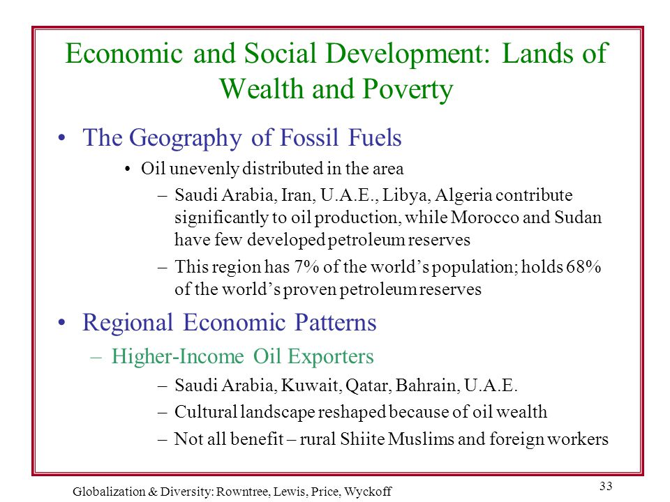Economic and Social Development: Lands of Wealth and Poverty