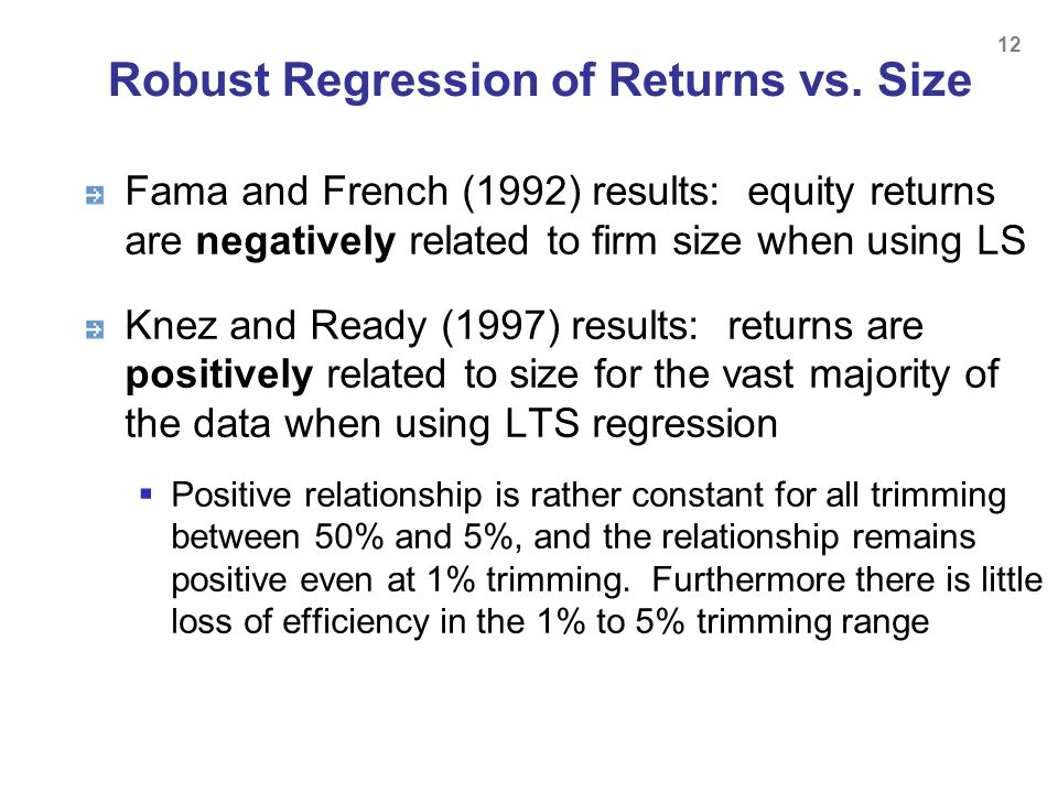Robust Regression of Returns vs. Size
