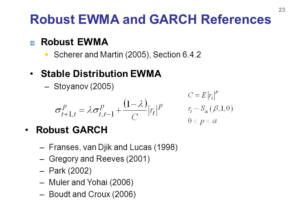 Robust EWMA and GARCH References